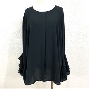 Who What Wear Black Chiffon Ruffle Bell Sleeve Top